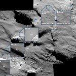 La descente et le 1er rebond de Philae sur 67P. Images prises par la caméra OSIRIS-NAC de Rosetta à 15,5 km de distance, le 12 novembre 2014 (résolution de 28 cm/pixel). Crédits : ESA/Rosetta/MPS for OSIRIS Team MPS/UPD/LAM/IAA/SSO/INTA/UPM/DASP/IDA.