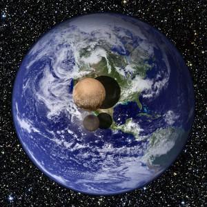 Les tailles de Pluton et Charon comparé à la Terre - © www.nasa.gov
