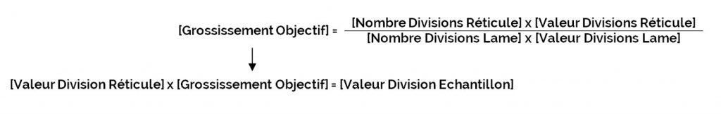 [Grossissement Objectif] = ({[Nombre Divisions Réticule] x [Valeur Divisions Réticule]) / ([Nombre Divisions Lame] x [Valeur Divisions Lame])